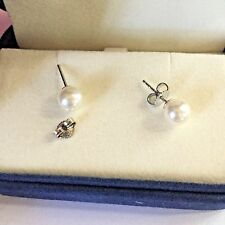 MIKIMOTO PEARL 6.9 MM STUD EARRINGS 18K WG 2 BOXES AUTHENTIC SUPERB LUSTER