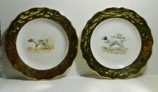 """Set of 2 Antique 6 1/4"""" Hunting Dog Plates-Setter*Foxhound*Te rrier-1"""" Gold Rim"""