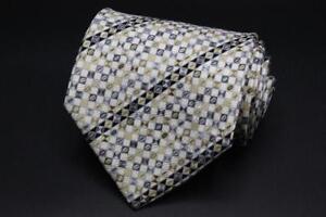 STEFANO RICCI Silk Tie. Black w White & Yellow Striped Geometric.