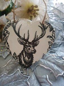 Christmas theme Decoupage Wood Heart 10cm