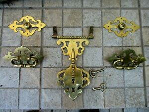 Vintage Brass Complete Set Lock Handles & Ornaments Covers Trunk Wooden Chest