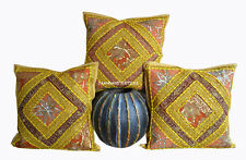 "SET OF 3 INDIAN HANDMADE ZARI WORK 16X16"" COTTON CUSHION COVER ETHNIC ARTloi"