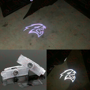 For Dodge Challenger SRT Hellcat 2008-19 2x LED Door Ghost Laser Projector Light