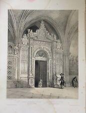 TOLEDO  CATEDRAL,  litografía original. Villaamil, 1842-1850.