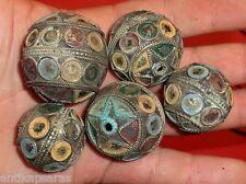 38mm Perle Ancien Maroc Collier Antique Ethnic Berber Metal Bead Necklac Morocco