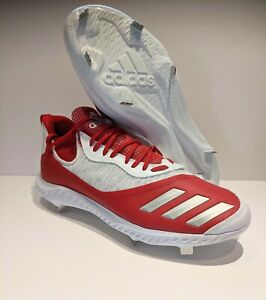 Adidas Mens Icon V Bounce Size 13.5 Baseball Cleats Iced EE4130 Red White