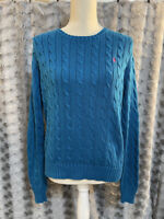 Ralph Lauren Blue Cable Knit Cotton Sweater Women's Size Large