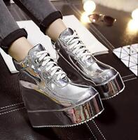 Women Lace Up Hidden Wedge Heels Round Toe Shoes Creepers Platform Sneakers Size