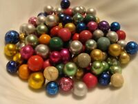 100 Vintage Marbles Handmade Clay Pee-Wee Foil Dyed Rose Purple Red Silver Blue
