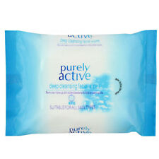 PURELY ACTIVE DEEP CLEANSING FACIAL WIPES FACE MAKEUP DIRT REMOVER WET 25 PACK