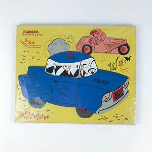 Vintage Playskool Wooden Puzzle Police Car 360-21 18 Pieces