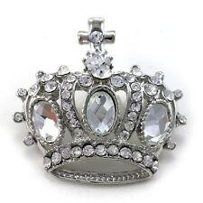 Cross Kings Crown Tiara Brooch Pin Clear Crystal Rhinestones C1