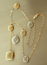 Tolles Collier - Kette Gold 585 zweifärbig mit quadratischen Anhängern Goldkette