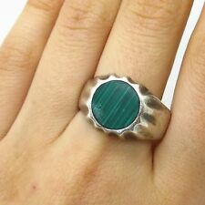 Vtg Mexico 925 Sterling Silver Real Malachite Gemstone Men's Ring Size 10 3/4