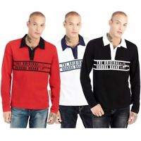 True Religion Men's Stripe Buddha Long Sleeve Rugby Polo Shirt