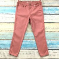 Seven7 Womens Jeans siz 12 Salmon Pink Cotton Stretch Capris Cropped Slim Skinny