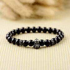 Fashion Star Wars Darth Vader Beaded Onyx Natural Stone Beads Men Charm Bracelet