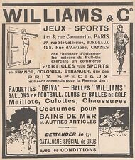 Z9156 WILLIAMS & C. - Jeux - Sports -  Pubblicità d'epoca - 1929 Old advertising