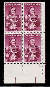 ALLY'S STAMPS US Plate Block Scott #1932 18c Babe Zaharias [4] MNH F/VF [STK]