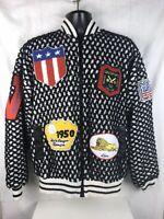 Vintage 80s Black White Zip Baseball Sweater Jacket Patches USA Baseball Men's L