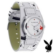 NEW RARE Playboy Watch S Silver Leather Ladies Stainless Steel Quartz Women Teen