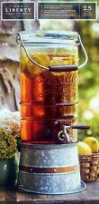 New 2.5 Gallon Glass Beverage Dispenser Galvanized Steel Stand Ice Drink Bucket