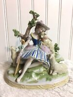 """Vtg Scheibe Alsbach Figurine Girl Sitting On Stones W 3 Lambs 6"""" Tall  #12400"""
