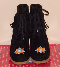 143 Girl Women's 9 Tootsie Black Suede Fringe Beaded Lace Up Wedge Ankle Boots