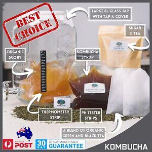 Large Kombucha Brewing Kit, 8L Jar, Organic Scoby, Sugar, Tea, Ph strips & more!
