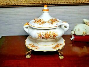Soup Tureen With Ladle, Underplate and Stand  - Orange, Brown & Yellow on White
