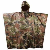 Army Waterproof Camo Raincoat Hooded Ripstop Rain Poncho Military Hiking Camping