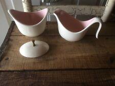 Vintage Creamer & Sugar Bowl , Pink & White Stunning Design, Promotional  50's ?