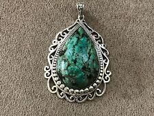"""CFJ Sterling Silver 925 Turquoise pendant size 2.5"""" x  2"""""""