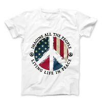 Imagine All The World Living Life In Peace Mens Womens American Flag T-Shirt