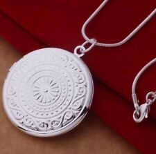 925 Sterling Silver Round LOCKET Photo Pendant Charm Necklace Chain Gift