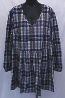 Lane Bryant Women's Plus Long Sleeve V-Neck Plaid Dress SC4 Blue Size 18/20 NWT