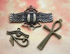 3 Large Egyptian Charms SCARAB Eye of HORUS Ankh Pendants Bronze Finish