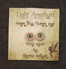 Glass Like Eyes - 4mm iris 6mm eyeball - color-Light Amethyst- Doll Making