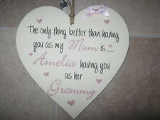 Handmade Wall Plaque Mum Nan Gran Personalised Gift 15cm hanging wooden heart