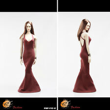 Hot 1/6 Poptoys Condole belt customized version women's evening dress suit Red