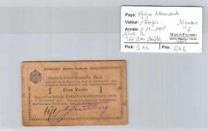 Deutsch-Ostafrikanische Afrique Allemande 1 Roupie 1.11.1915 n° 35569  Pick 9Ab