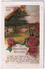 For my Brother's Birthday -  Vintage Postcard - Dairy Farmer & Floral Design