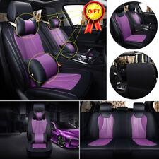 US Universal 5 Seats Car Full Set 3D Seat Cover Cushions W/ Neck Lumbar Pillows