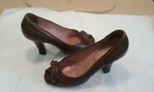 Miu Miu Brown Leather peep Toe  Oxford Design Wooden Heels with Bows  SZ 38