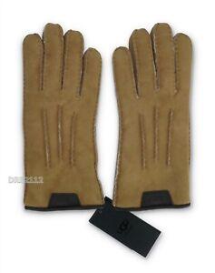 UGG Casual Glove w/ Leather Logo Chestnut Fur Gloves Mens Size Medium M *NWT*