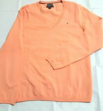 Tommy Hilfiger Classic Womens Cotton Knit V-Neck Sweater Peach Size L