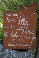 Edelrost Tafel mit Herz Es ist keine Villa...Spruch Garten Metall Schild Text