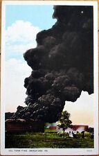 1920s Bradford, PA Postcard: Oil Well/Tank Fire - Pennsylvania Penn