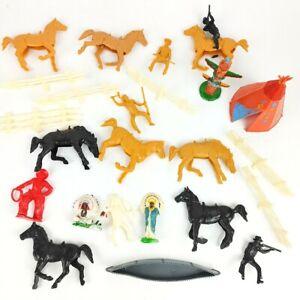 Vintage toy incl. Louis Marx Cowboys Indians Horses Western plastic figure lot