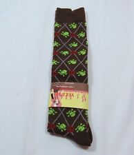 Brown Trouser Knee High Peace Sign Skull Crossbones socks Womens 9-11 Stretchy